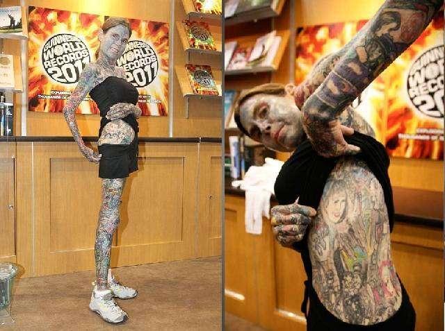 Джулия Гнусе: самая татуированная женщина, 95% тела