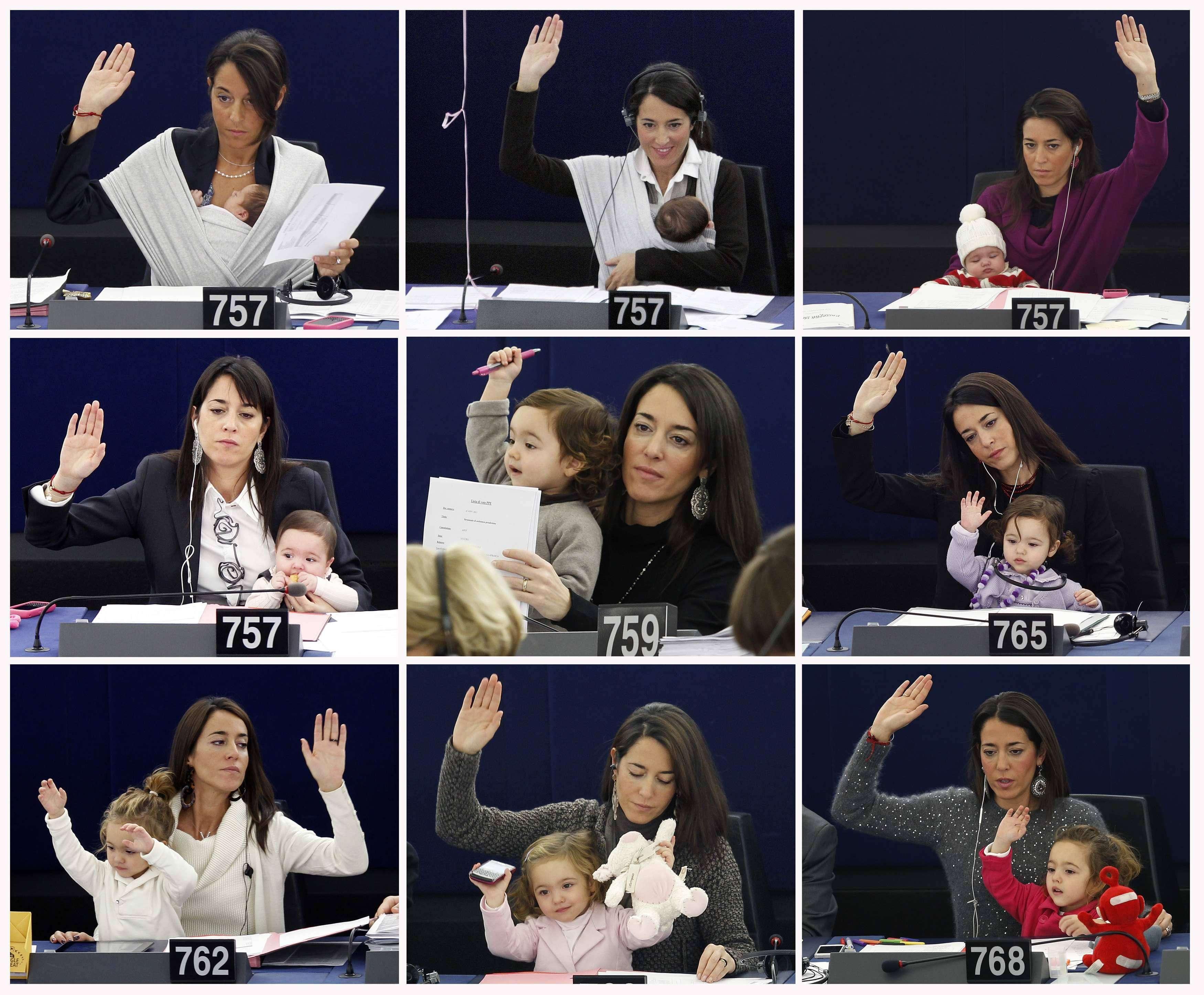 Личия Ронзулли — с грудничком в Европарламент